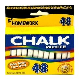 "96 Units of Chalk - White - 48 pk - 3"" sticks - Boxed - Chalk,Chalkboards,Crayons"