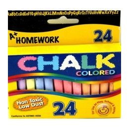 "96 Units of Chalk - Asst. Colors - 24 pk - 3"" sticks - Boxed - Chalk,Chalkboards,Crayons"