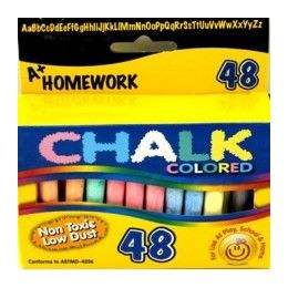 "48 Units of Chalk - Asst. Colors - 48 pk - 3"" sticks - Boxed - Chalk,Chalkboards,Crayons"