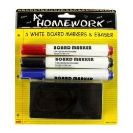 48 Units of Dry Ersae Board Markers - 3 pk + Board Eraser - Markers and Highlighters