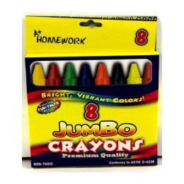 48 Units of Jumbo Crayons - Boxed 8 - Assorted Colors. - Chalk,Chalkboards,Crayons