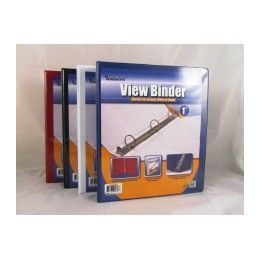 """48 Units of Binder - Clear View Pocket - 1"""" - 3 rings - assorted colors - Clipboards and Binders"""