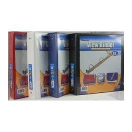 """24 Units of Binder - Clear View Pocket - 1.5"""" - 3 rings - assorted colors - Clipboards and Binders"""