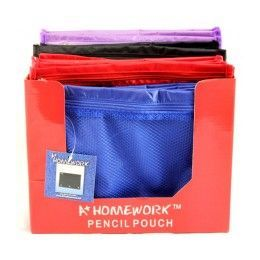 "48 Units of Pencil Zipper Pouch - Mesh front - assorted colors - 10.25"" x 7.75"" - Storage Holders and Organizers"