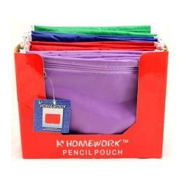 "48 Units of Pencil Zipper Pouch - Nylon - assorted colors - 10.25"" X 7.75"" - Storage Holders and Organizers"