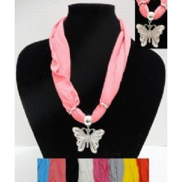"72 Units of 30"" Scarf Necklace with Butterfly - Womens Fashion Scarves"