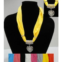 "72 Units of  30"" Scarf Necklace with Heart - Womens Fashion Scarves"