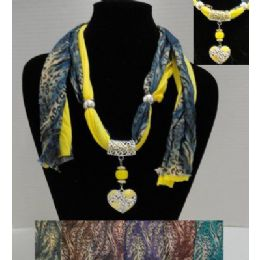 "72 Units of 62"" Leopard Print Scarf Necklace w/ Rhinestone Heart - Womens Fashion Scarves"