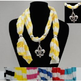 "72 Units of 64"" Striped Scarf Necklace-Fleur de Lis - Womens Fashion Scarves"
