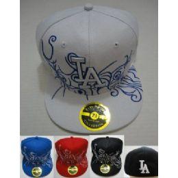 72 Units of Fitted La Hat [swirly Lines] - Baseball Caps & Snap Backs