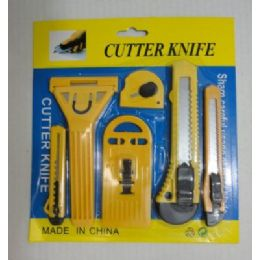 144 Units of 6PC Utility Knife Set [Snap -Off Blade] - Hardware Shop Equipment