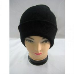 144 Units of Thick Black Winter Hat - Winter Beanie Hats
