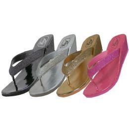 36 Units of Women's Metallic Glitter Wedges Flip Flops - Women's Flip Flops
