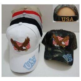 48 Units of Flying Eagle With FlaG-Usa On Bill - Baseball Caps & Snap Backs