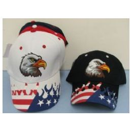48 Units of Eagle Head With Screen Printed Flames - Baseball Caps & Snap Backs