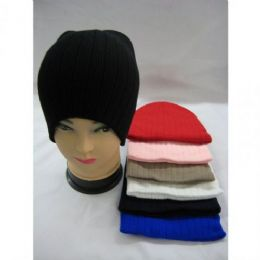 144 Units of Unisex Basic Winter Hat Assorted Colors With Stripes - Winter Beanie Hats