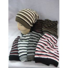 72 Units of Striped Long Winter Hats - Winter Beanie Hats