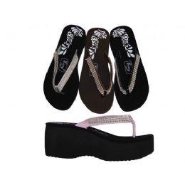 24 Units of Ladies' 3 Row Gem Wedge - Women's Flip Flops