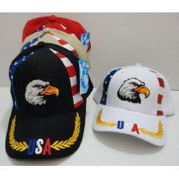 72 Units of Usa Eagle Hat With Flag Panel - Baseball Caps & Snap Backs