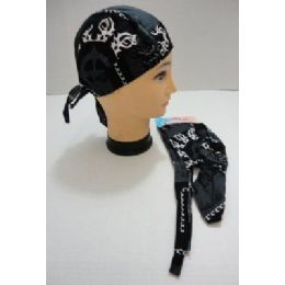 120 Units of Skull CaP-Black & Dark Gray With White Tribal - Head Wraps