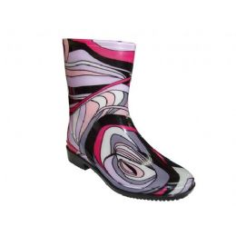 24 Units of Lady Mid Abstract Wave Rainboot - Women's Boots