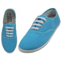 24 Units of Women's Lace Up Casual Canvas Shoes ( *azul Color ) - Women's Sneakers