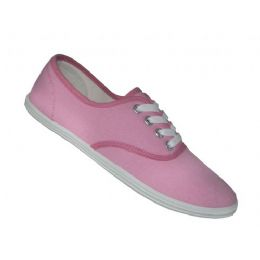 24 Units of Women's Lace Up Casual Canvas Shoes ( *baby Pink Color ) - Women's Sneakers