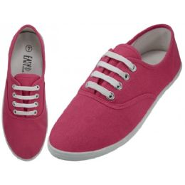 24 Units of Ladies Canvas Shoes Fuchsia Purple - Women's Sneakers