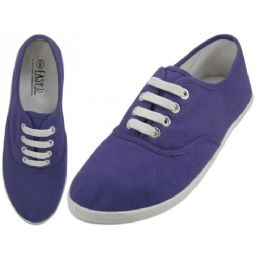 24 Units of Women's Lace Up Casual Canvas Shoes ( *purple Color ) - Women's Sneakers