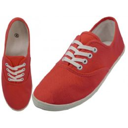 24 Units of Women's Lace Up Casual Canvas Shoes ( *red Coral Color ) - Women's Sneakers