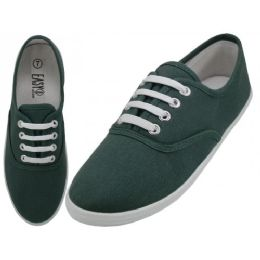 24 Units of Women's Lace Up Casual Canvas Shoes ( *hunter Green Color ) - Women's Sneakers