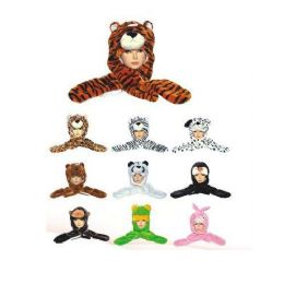 60 Units of Long Animal Hat With Hand Warmers Heavy - Winter Animal Hats