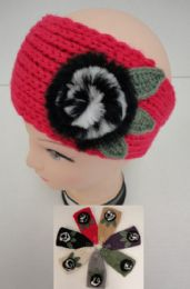 12 Units of Hand Knitted Ear BanD--Fur Flower - Ear Warmers
