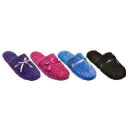36 Units of Ladies Plush Slipper With Corduroys Texture - Women's Flip Flops