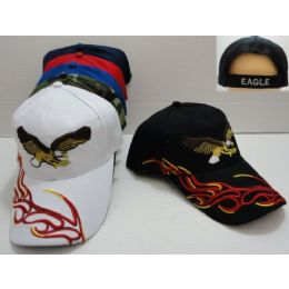 48 Units of Flying Eagle Hat [red/yellow Flames On Bill] - Baseball Caps & Snap Backs