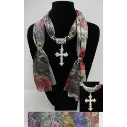 72 Units of Printed Scarf Necklace-Cross Charm - Womens Fashion Scarves