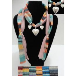 36 Units of Printed Scarf Necklace-Triple Heart Charms - Womens Fashion Scarves