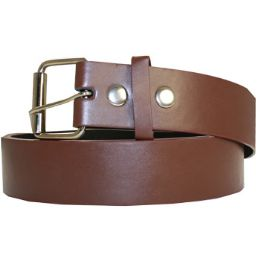 48 Units of Unisex Adult Brown Plain Belt Genuine Leather - Womens Belts