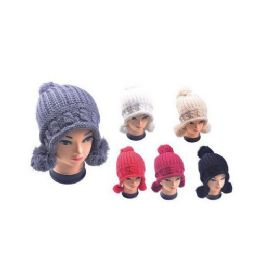 36 Units of Hat With 3 Pom Poms - Winter Helmet Hats