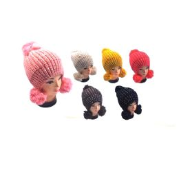36 Units of Hat With 3 Pom Poms & Rhinestone - Winter Helmet Hats