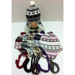 144 Units of Knit Hat with Ear Flap--Heart & Peace Sign - Winter Helmet Hats