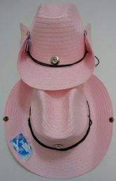 48 Units of Straw Cowboy Hat with Jewel-Pink Only - Cowboy & Boonie Hat