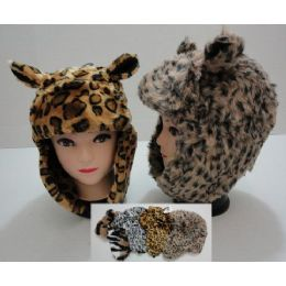 12 Units of Plush Bomber Hat With Fur LininG--Animal Print With Ears - Winter Animal Hats