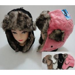 72 Units of Plush Bomber Hat with Fur Lining - Trapper Hats