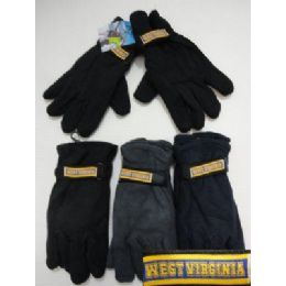 72 Units of  Men's Fleece Gloves-Thermal Insulate *WEST VIRGINIA* - Fleece Gloves