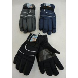 24 Units of Men's Snow Gloves [solid Color] - Ski Gloves