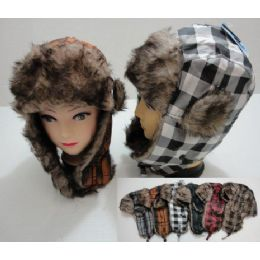24 Units of Bomber Hat with Fur Lining--New Plaid - Trapper Hats