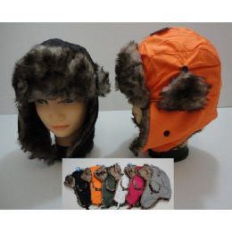 48 Units of Bomber Hat with Fur Lining--Solid Color - Trapper Hats