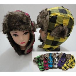144 Units of Child's Bomber Hat with Fur Lining--Neon Plaid - Junior / Kids Winter Hats