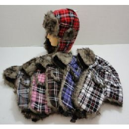 48 Units of Bomber Hat with Fur Lining--Plaid - Trapper Hats